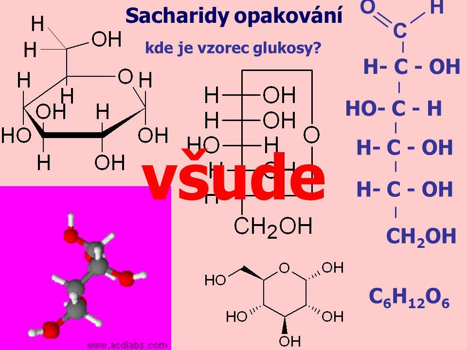 důkaz glukosy reakcí jejího roztoku s Fehlingovým činidlem (redukční účinky glukosy): Sacharidy opakování Fehlingovo činidlo reakcí roztoku glukosy s Fehlingovým činidlem zahřátím se změní barva roztoku z modré na hnědooranžovou: glukosa → glukosa + F.č.
