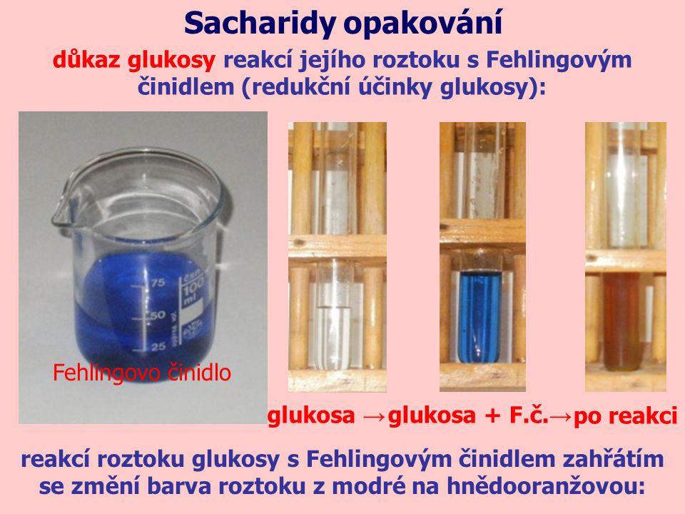 důkaz glukosy reakcí jejího roztoku s Fehlingovým činidlem (redukční účinky glukosy): Sacharidy opakování Fehlingovo činidlo reakcí roztoku glukosy s