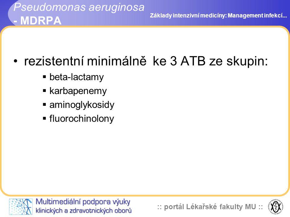 :: portál Lékařské fakulty MU :: rezistentní minimálně ke 3 ATB ze skupin:  beta-lactamy  karbapenemy  aminoglykosidy  fluorochinolony Základy intenzivní medicíny: Management infekcí...