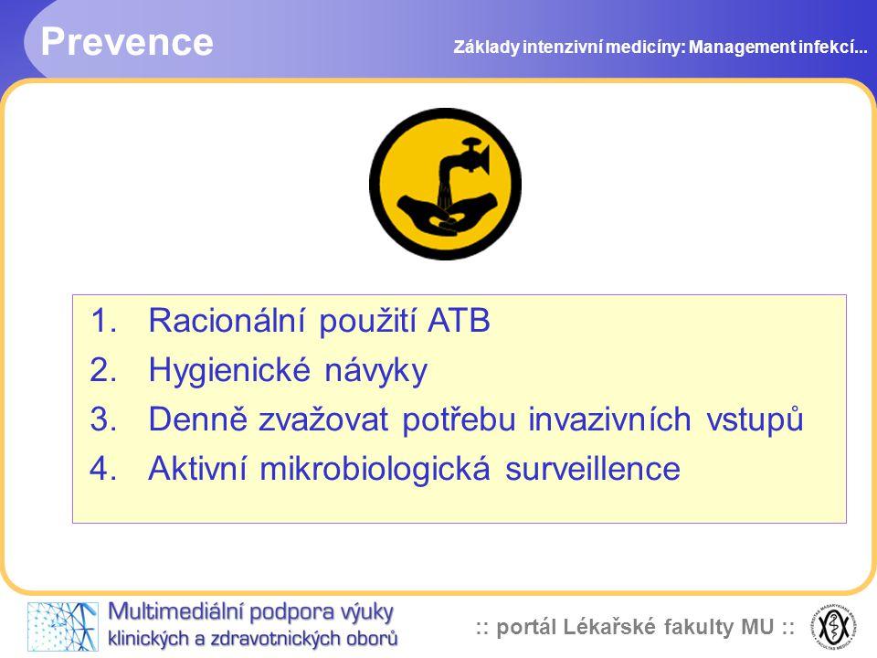 :: portál Lékařské fakulty MU :: Prevence Základy intenzivní medicíny: Management infekcí...