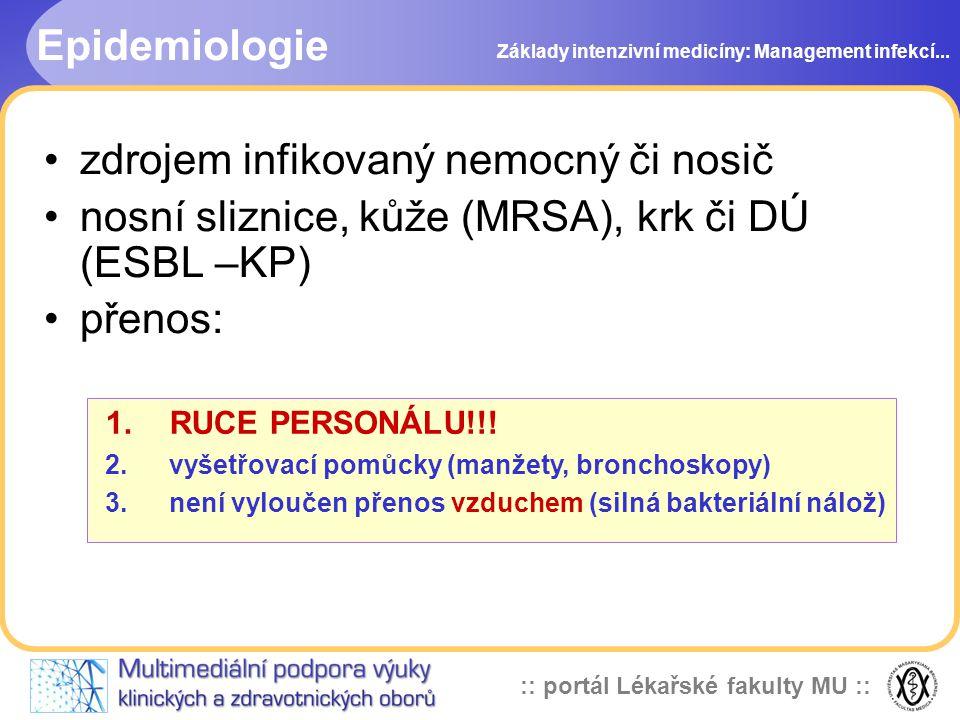 :: portál Lékařské fakulty MU :: Epidemiologie zdrojem infikovaný nemocný či nosič nosní sliznice, kůže (MRSA), krk či DÚ (ESBL –KP) přenos: Základy intenzivní medicíny: Management infekcí...