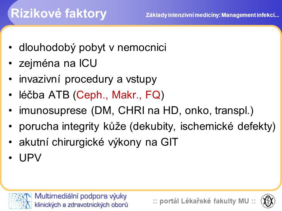 :: portál Lékařské fakulty MU :: Rizikové faktory dlouhodobý pobyt v nemocnici zejména na ICU invazivní procedury a vstupy léčba ATB (Ceph., Makr., FQ) imunosuprese (DM, CHRI na HD, onko, transpl.) porucha integrity kůže (dekubity, ischemické defekty) akutní chirurgické výkony na GIT UPV Základy intenzivní medicíny: Management infekcí...