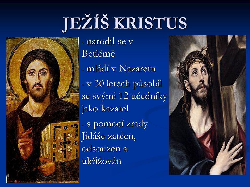 JEŽÍŠ KRISTUS - n- n- n- narodil se v Betlémě - m- m- m- mládí v Nazaretu - v- v- v- v 30 letech působil se svými 12 učedníky jako kazatel - s- s- s-