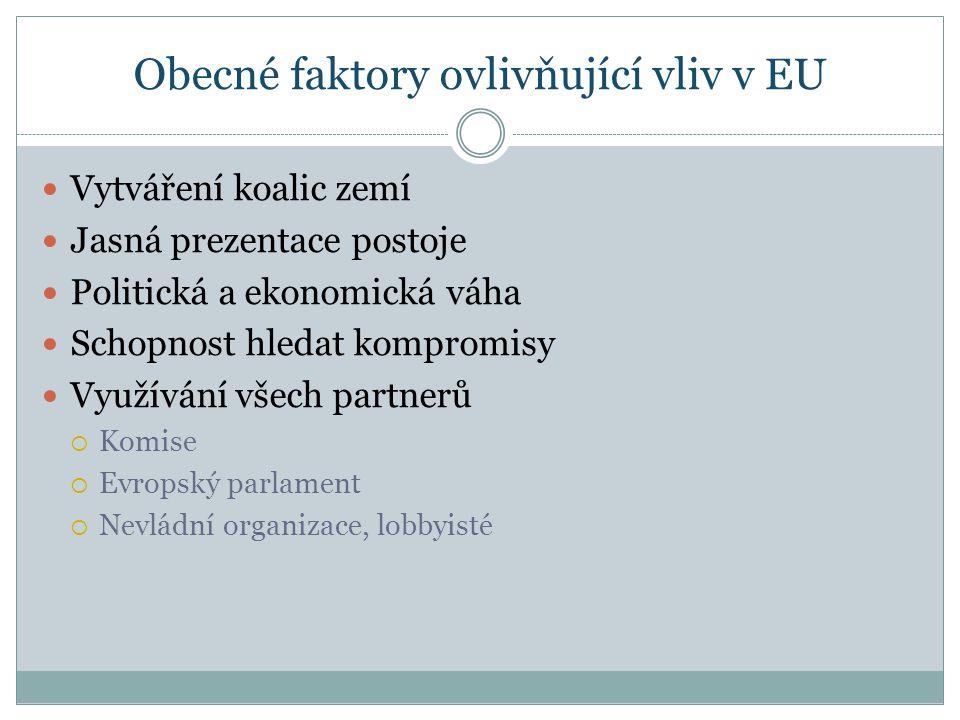 Obecné faktory ovlivňující vliv v EU Vytváření koalic zemí Jasná prezentace postoje Politická a ekonomická váha Schopnost hledat kompromisy Využívání všech partnerů  Komise  Evropský parlament  Nevládní organizace, lobbyisté