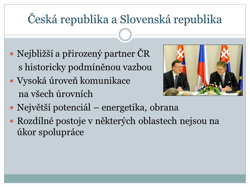 Česká republika a Slovenská republika Nejbližší a přirozený partner ČR s historicky podmíněnou vazbou Vysoká úroveň komunikace na všech úrovních Největší potenciál – energetika, obrana Rozdílné postoje v některých oblastech nejsou na úkor spolupráce
