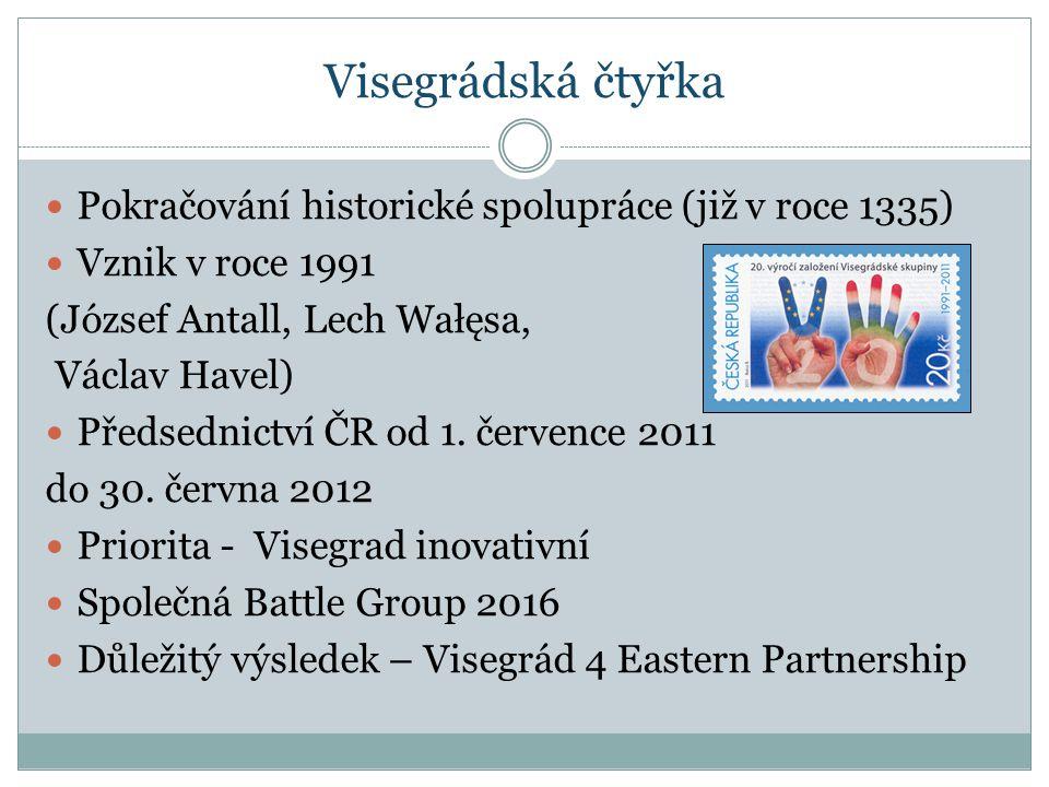 Visegrádská čtyřka Pokračování historické spolupráce (již v roce 1335) Vznik v roce 1991 (József Antall, Lech Wałęsa, Václav Havel) Předsednictví ČR od 1.