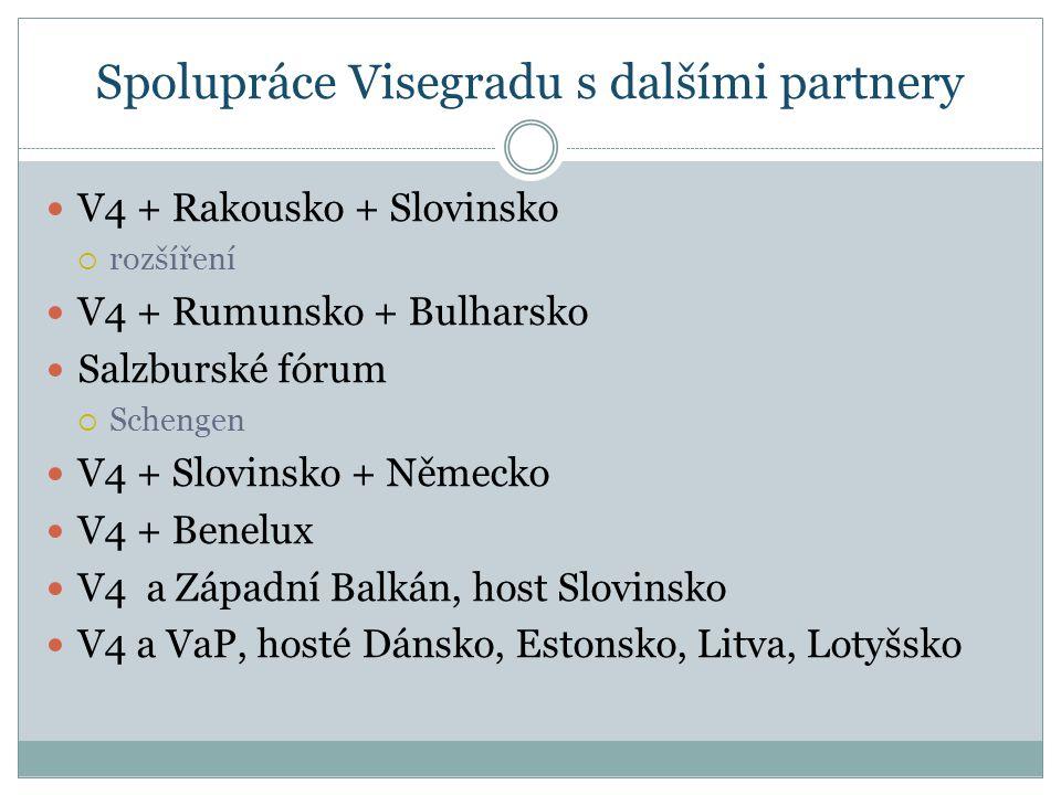Spolupráce Visegradu s dalšími partnery V4 + Rakousko + Slovinsko  rozšíření V4 + Rumunsko + Bulharsko Salzburské fórum  Schengen V4 + Slovinsko + Německo V4 + Benelux V4 a Západní Balkán, host Slovinsko V4 a VaP, hosté Dánsko, Estonsko, Litva, Lotyšsko
