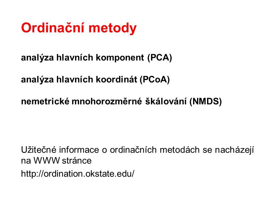 Ordinační metody analýza hlavních komponent (PCA) analýza hlavních koordinát (PCoA) nemetrické mnohorozměrné škálování (NMDS) Užitečné informace o ord