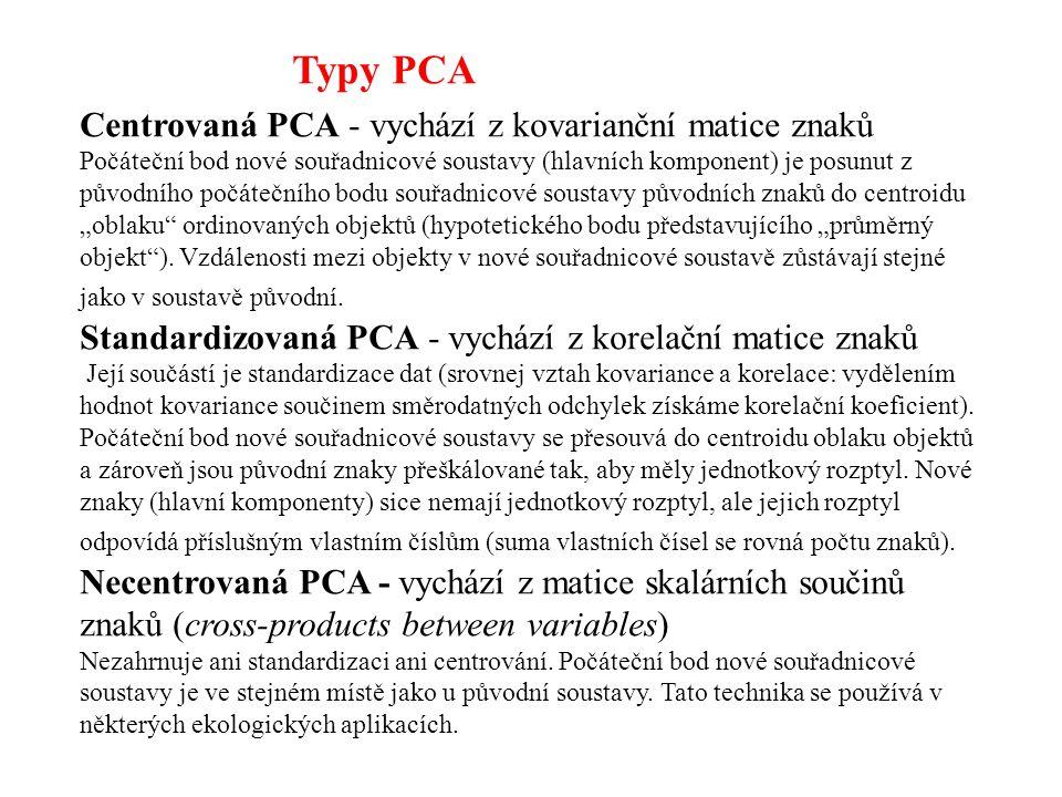 Typy PCA Centrovaná PCA - vychází z kovarianční matice znaků Počáteční bod nové souřadnicové soustavy (hlavních komponent) je posunut z původního počá