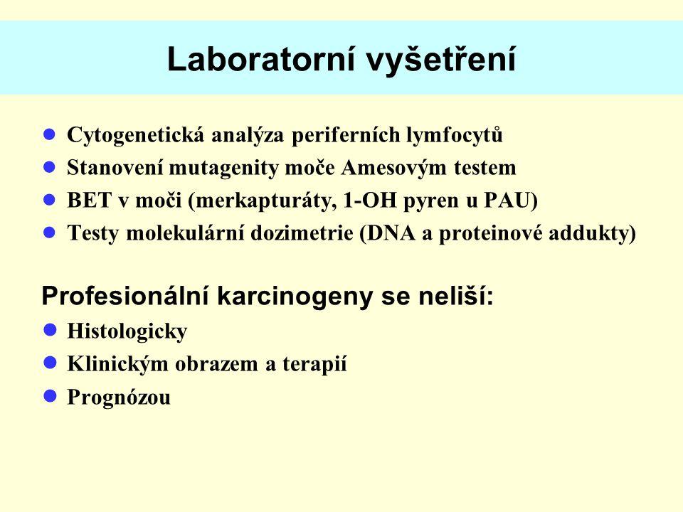 Laboratorní vyšetření ● Cytogenetická analýza periferních lymfocytů ● Stanovení mutagenity moče Amesovým testem ● BET v moči (merkapturáty, 1-OH pyren u PAU) ● Testy molekulární dozimetrie (DNA a proteinové addukty) Profesionální karcinogeny se neliší: ● Histologicky ● Klinickým obrazem a terapií ● Prognózou