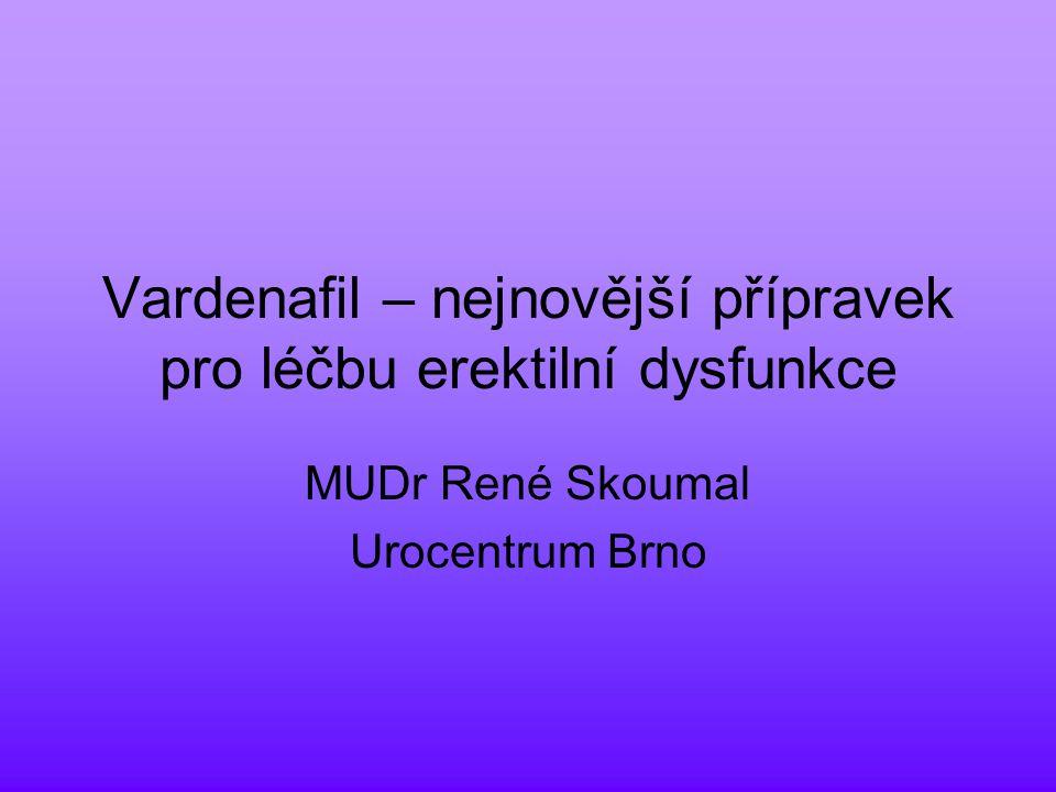 Vardenafil – nejnovější přípravek pro léčbu erektilní dysfunkce MUDr René Skoumal Urocentrum Brno