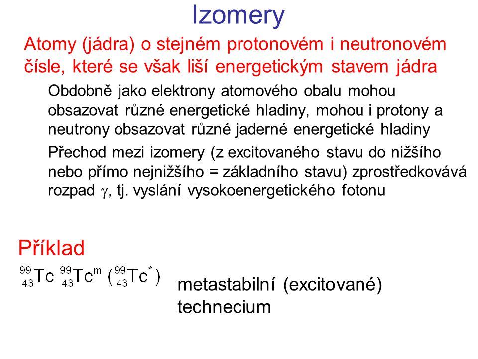 Izomery Atomy (jádra) o stejném protonovém i neutronovém čísle, které se však liší energetickým stavem jádra Obdobně jako elektrony atomového obalu mohou obsazovat různé energetické hladiny, mohou i protony a neutrony obsazovat různé jaderné energetické hladiny Přechod mezi izomery (z excitovaného stavu do nižšího nebo přímo nejnižšího = základního stavu) zprostředkovává rozpad , tj.