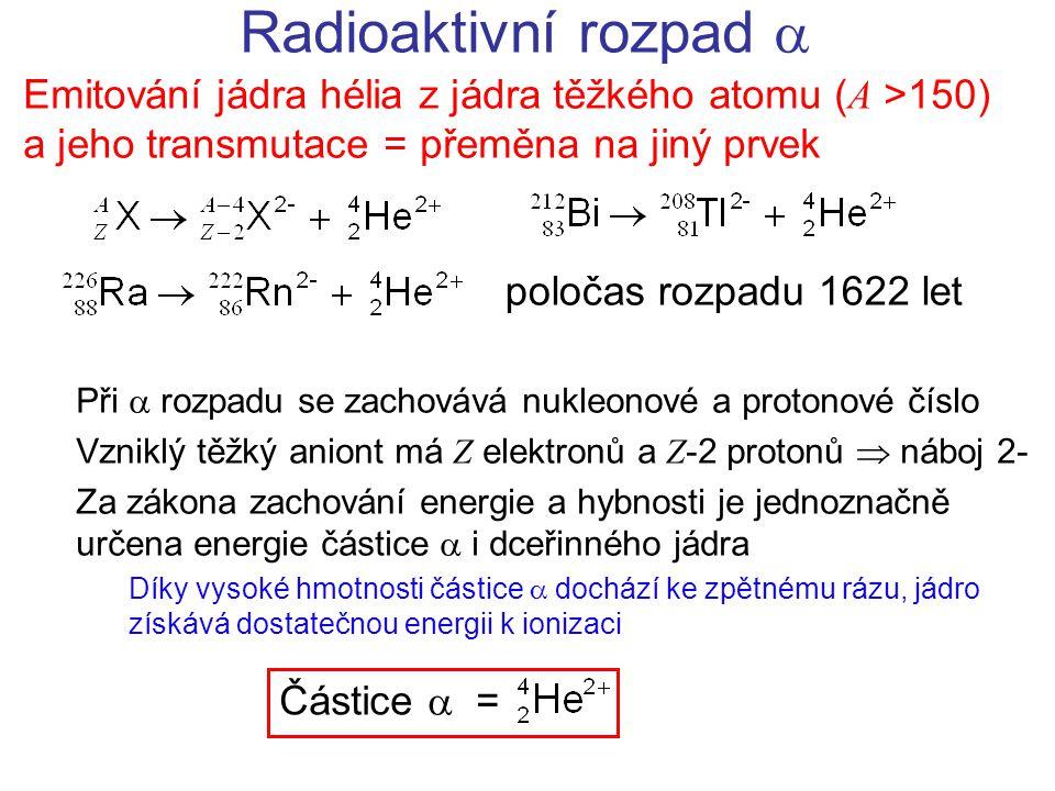 Radioaktivní rozpad  Emitování jádra hélia z jádra těžkého atomu ( A >150) a jeho transmutace = přeměna na jiný prvek Při  rozpadu se zachovává nukleonové a protonové číslo Vzniklý těžký aniont má Z elektronů a Z -2 protonů  náboj 2- Za zákona zachování energie a hybnosti je jednoznačně určena energie částice  i dceřinného jádra Díky vysoké hmotnosti částice  dochází ke zpětnému rázu, jádro získává dostatečnou energii k ionizaci Částice  = poločas rozpadu 1622 let