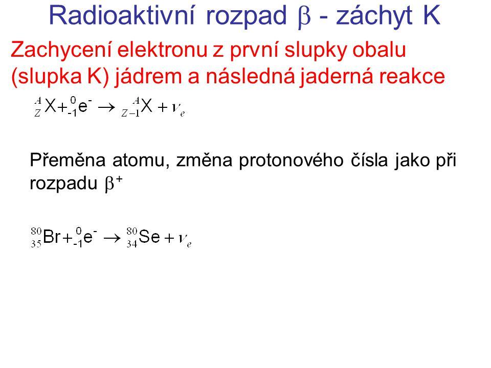 Radioaktivní rozpad  - záchyt K Zachycení elektronu z první slupky obalu (slupka K) jádrem a následná jaderná reakce Přeměna atomu, změna protonového čísla jako při rozpadu  +