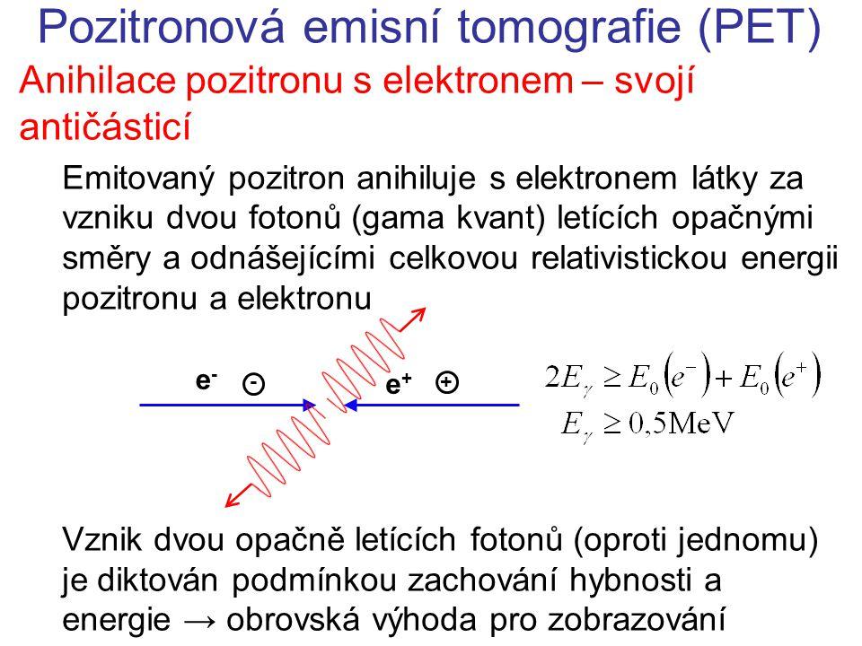Anihilace pozitronu s elektronem – svojí antičásticí Emitovaný pozitron anihiluje s elektronem látky za vzniku dvou fotonů (gama kvant) letících opačnými směry a odnášejícími celkovou relativistickou energii pozitronu a elektronu Vznik dvou opačně letících fotonů (oproti jednomu) je diktován podmínkou zachování hybnosti a energie → obrovská výhoda pro zobrazování - + e+e+ e-e-
