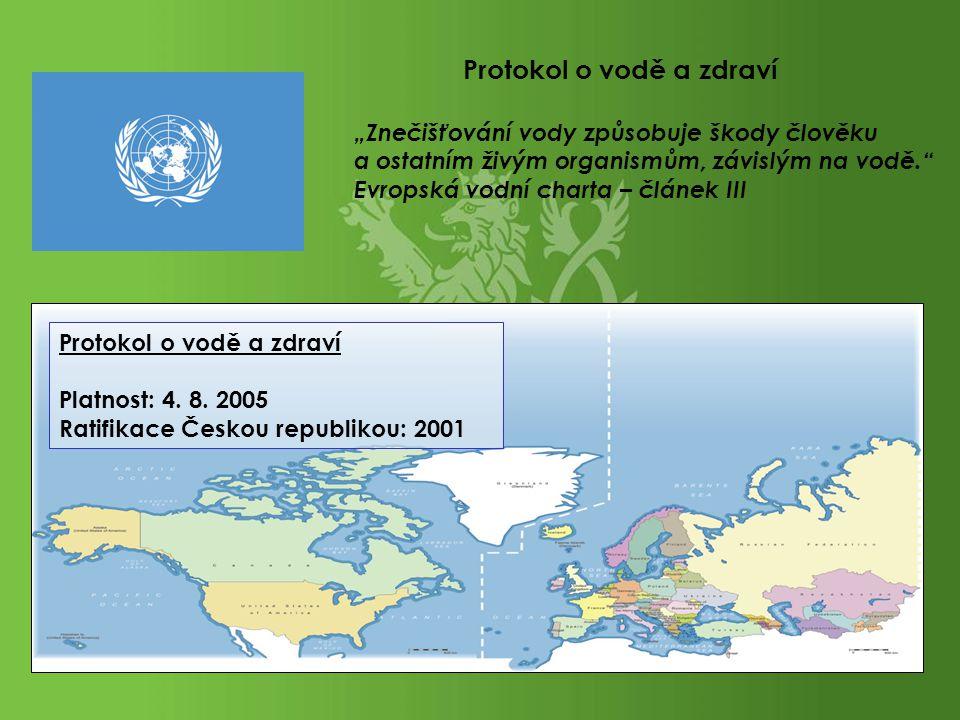 """""""Znečišťování vody způsobuje škody člověku a ostatním živým organismům, závislým na vodě."""" Evropská vodní charta – článek III Protokol o vodě a zdraví"""