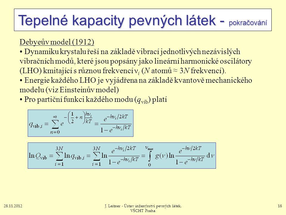 28.11.2012J. Leitner - Ústav inženýrství pevných látek, VŠCHT Praha 18 Tepelné kapacity pevných látek - pokračování Debyeův model (1912) Dynamiku krys
