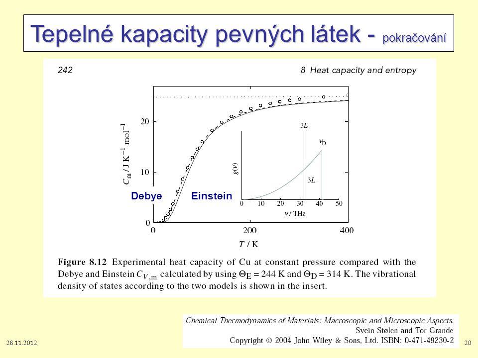 28.11.201220 Tepelné kapacity pevných látek - pokračování DebyeEinstein