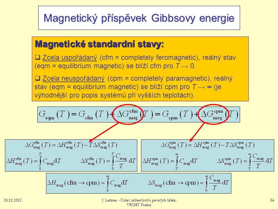 28.11.2012J. Leitner - Ústav inženýrství pevných látek, VŠCHT Praha 34 Magnetický příspěvek Gibbsovy energie Magnetické standardní stavy:  Zcela uspo
