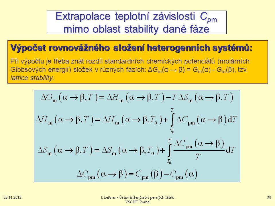 28.11.2012J. Leitner - Ústav inženýrství pevných látek, VŠCHT Praha 38 Extrapolace teplotní závislosti C pm mimo oblast stability dané fáze Výpočet ro