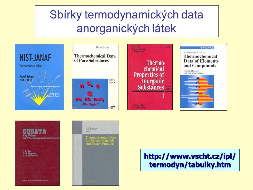 Sbírky termodynamických data anorganických látek http://www.vscht.cz/ipl/ termodyn/tabulky.htm