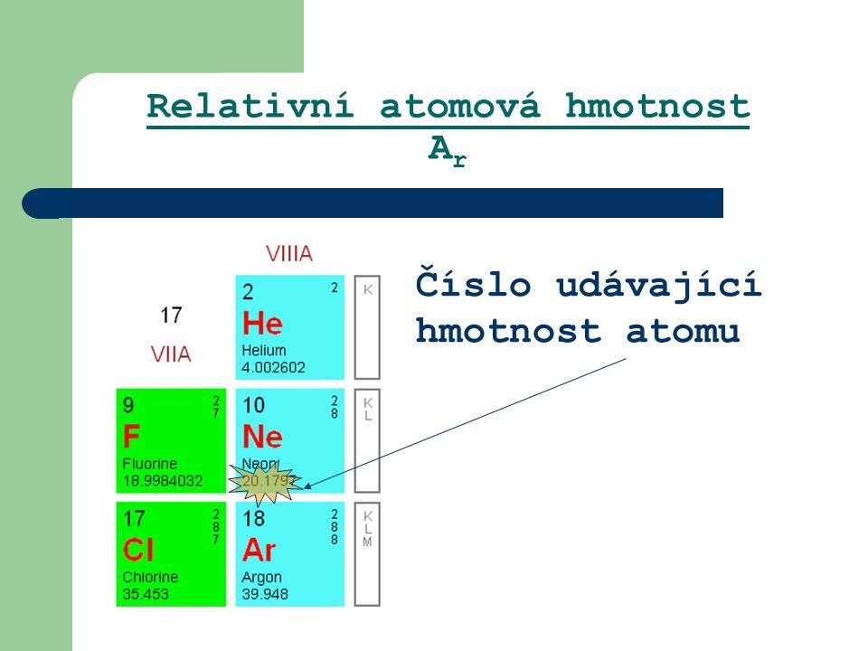 Relativní atomová hmotnost A r Číslo udávající hmotnost atomu