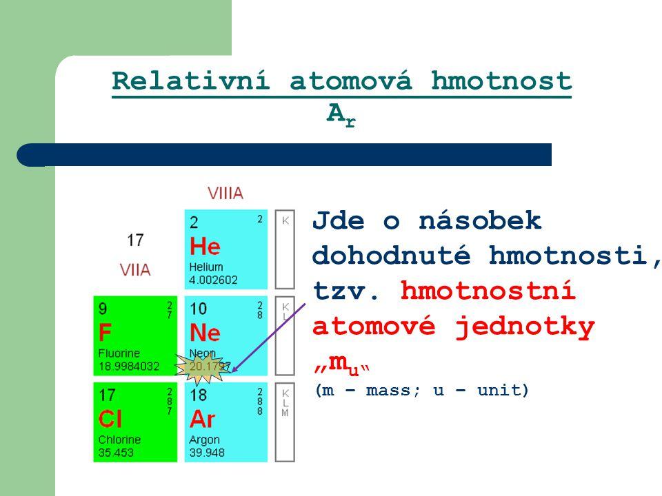 """Relativní atomová hmotnost A r Jde o násobek dohodnuté hmotnosti, tzv. hmotnostní atomové jednotky """"m u"""" (m – mass; u – unit)"""