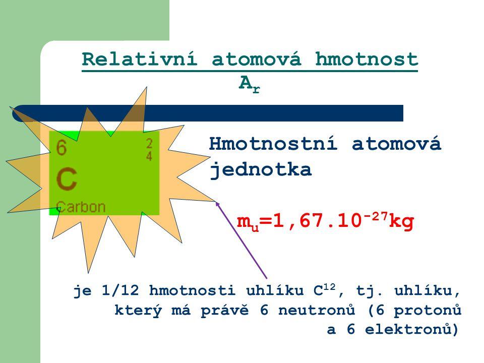 Relativní atomová hmotnost A r Hmotnostní atomová jednotka m u =1,67.10 -27 kg je 1/12 hmotnosti uhlíku C 12, tj. uhlíku, který má právě 6 neutronů (6