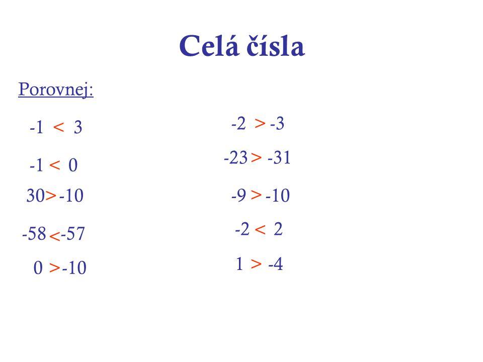 Celá č ísla Porovnej: -1 3 -2 -3 -1 0 30 -10-9 -10 -58 -57 -23 -31 -2 2 0 -10 1 -4 < < > < > > > > < >