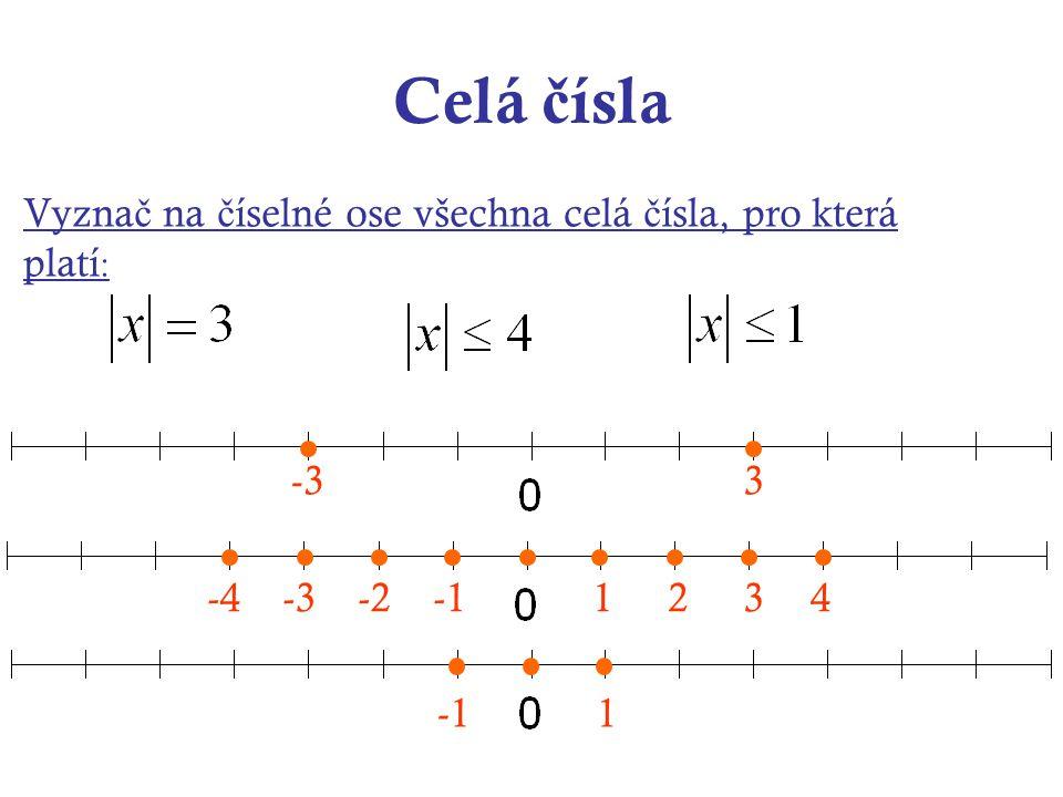Celá čísla Zapiš příklad a vypočítej : Rozdíl absolutní hodnoty čísla 8 a absolutní hodnoty čísla (-3) Rozdíl čísla 32 a absolutní hodnoty čísla (-19) Číslo 28 zmenši o absolutní hodnotu rozdílu čísel 21 a 15 Vynásob absolutní hodnotu čísla (-8) součtem čísla 2 a absolutní hodnoty čísla (-7)  8  -  -3  = 5 32 -  -19  = 13 28 -  21 - 15  = 22  - 8 .