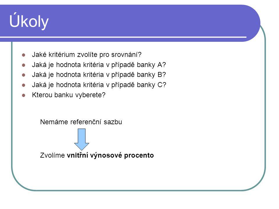 Banka A P 0 = 900000Kč n = 35let = 420měsíců i = 7,05% p.a.