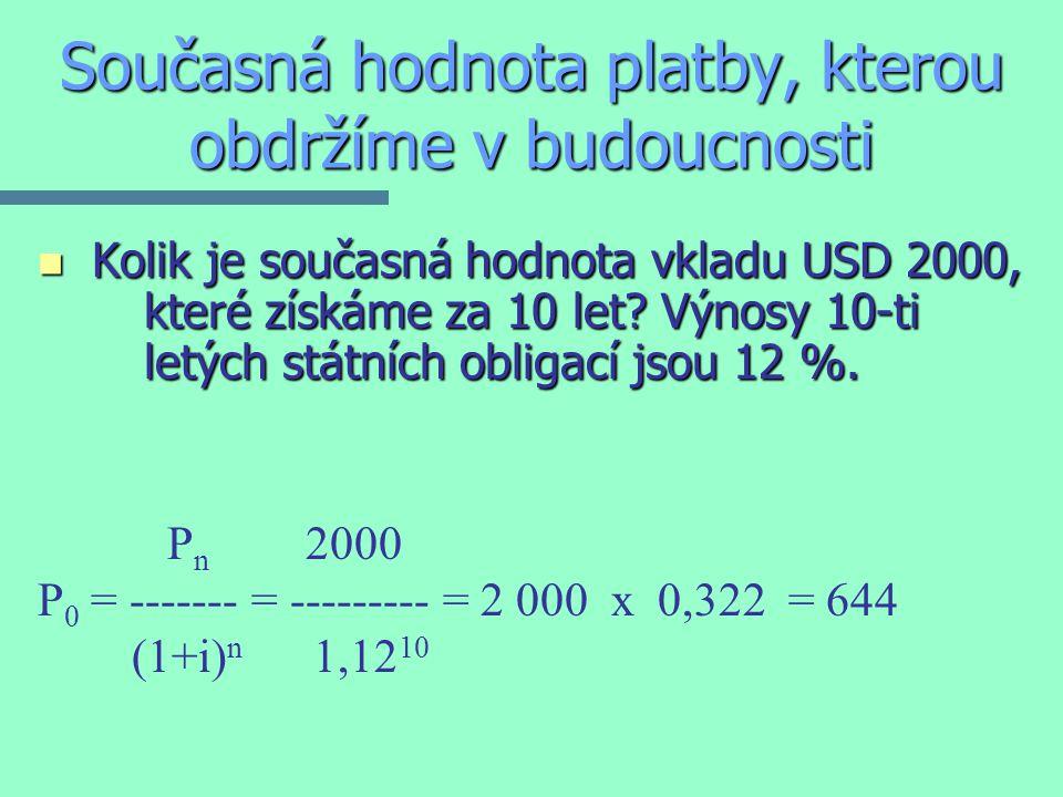 Současná hodnota platby, kterou obdržíme v budoucnosti n Kolik je současná hodnota vkladu USD 2000, které získáme za 10 let.