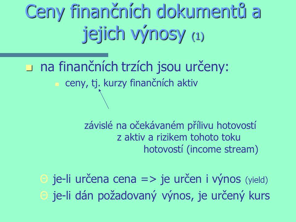Ceny finančních dokumentů a jejich výnosy (1) n n na finančních trzích jsou určeny: n n ceny, tj.