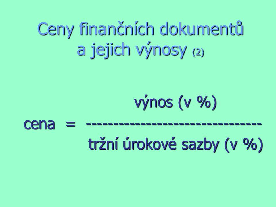Ceny finančních dokumentů a jejich výnosy (2) výnos (v %) výnos (v %) cena = -------------------------------- tržní úrokové sazby (v %) tržní úrokové sazby (v %)