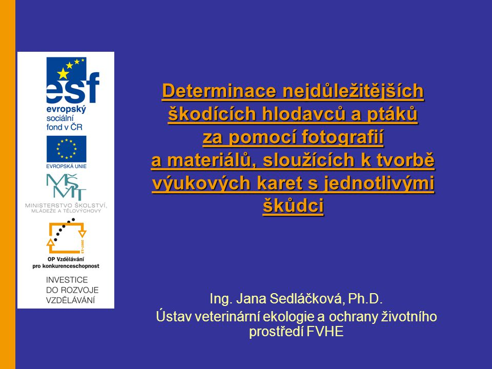 Ing.Jana Sedláčková, Ph.D.