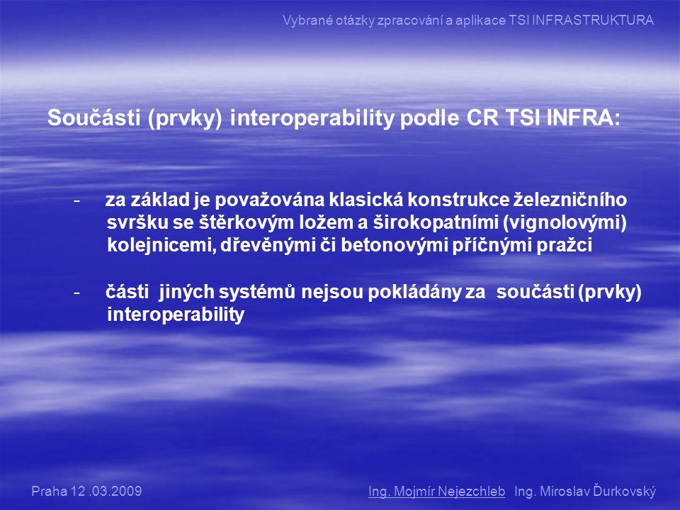 Součásti (prvky) interoperability podle CR TSI INFRA: - za základ je považována klasická konstrukce železničního svršku se štěrkovým ložem a širokopatními (vignolovými) kolejnicemi, dřevěnými či betonovými příčnými pražci - části jiných systémů nejsou pokládány za součásti (prvky) interoperability Ing.