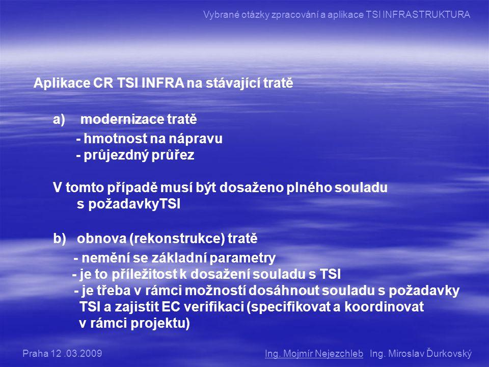 Aplikace CR TSI INFRA na stávající tratě a) modernizace tratě - hmotnost na nápravu - průjezdný průřez V tomto případě musí být dosaženo plného souladu s požadavkyTSI b) obnova (rekonstrukce) tratě - nemění se základní parametry - je to příležitost k dosažení souladu s TSI - je třeba v rámci možností dosáhnout souladu s požadavky TSI a zajistit EC verifikaci (specifikovat a koordinovat v rámci projektu) Ing.