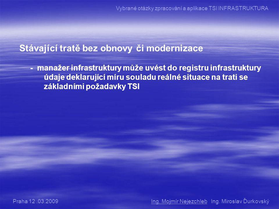 Stávající tratě bez obnovy či modernizace - manažer infrastruktury může uvést do registru infrastruktury údaje deklarující míru souladu reálné situace na trati se základními požadavky TSI Ing.