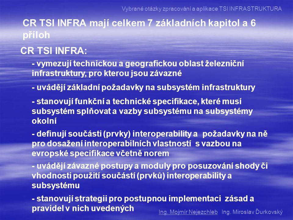 CR TSI INFRA mají celkem 7 základních kapitol a 6 příloh CR TSI INFRA: - vymezují technickou a geografickou oblast železniční infrastruktury, pro kterou jsou závazné - uvádějí základní požadavky na subsystém infrastruktury - stanovují funkční a technické specifikace, které musí subsystém splňovat a vazby subsystému na subsystémy okolní - definují součásti (prvky) interoperability a požadavky na ně pro dosažení interoperabilních vlastností s vazbou na evropské specifikace včetně norem - uvádějí závazné postupy a moduly pro posuzování shody či vhodnosti použití součástí (prvků) interoperability a subsystému - stanovují strategii pro postupnou implementaci zásad a pravidel v nich uvedených Ing.