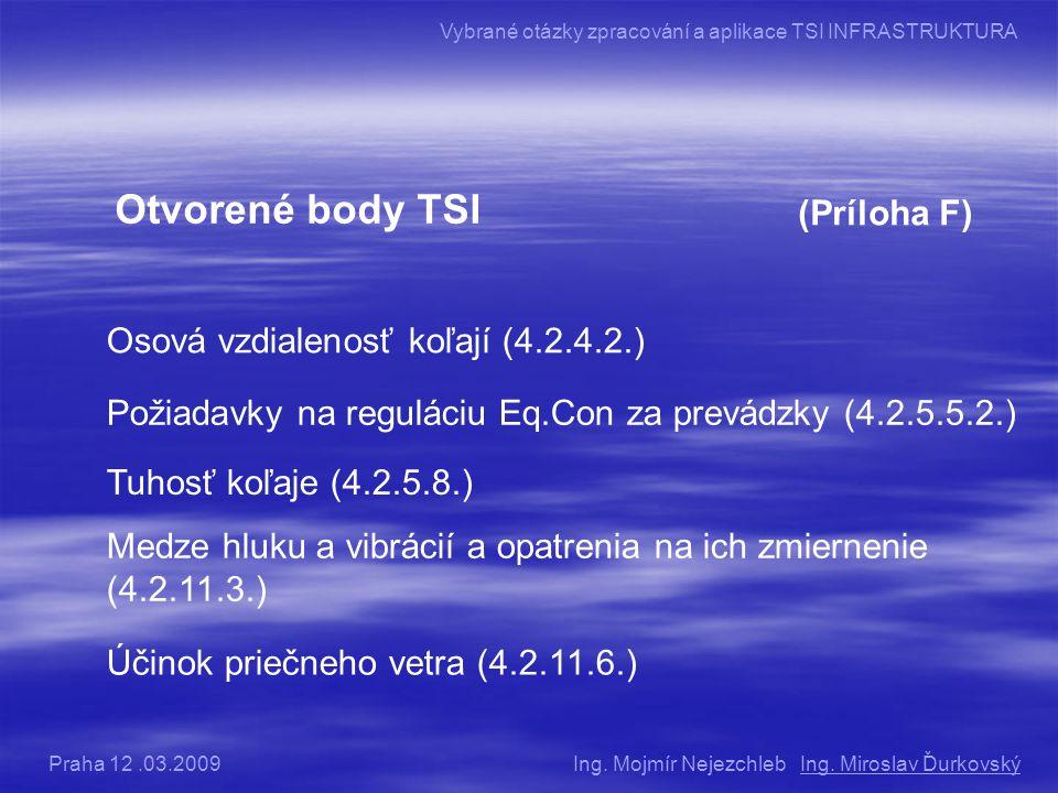 Otvorené body TSI (Príloha F) Osová vzdialenosť koľají (4.2.4.2.) Požiadavky na reguláciu Eq.Con za prevádzky (4.2.5.5.2.) Tuhosť koľaje (4.2.5.8.) Medze hluku a vibrácií a opatrenia na ich zmiernenie (4.2.11.3.) Účinok priečneho vetra (4.2.11.6.) Ing.