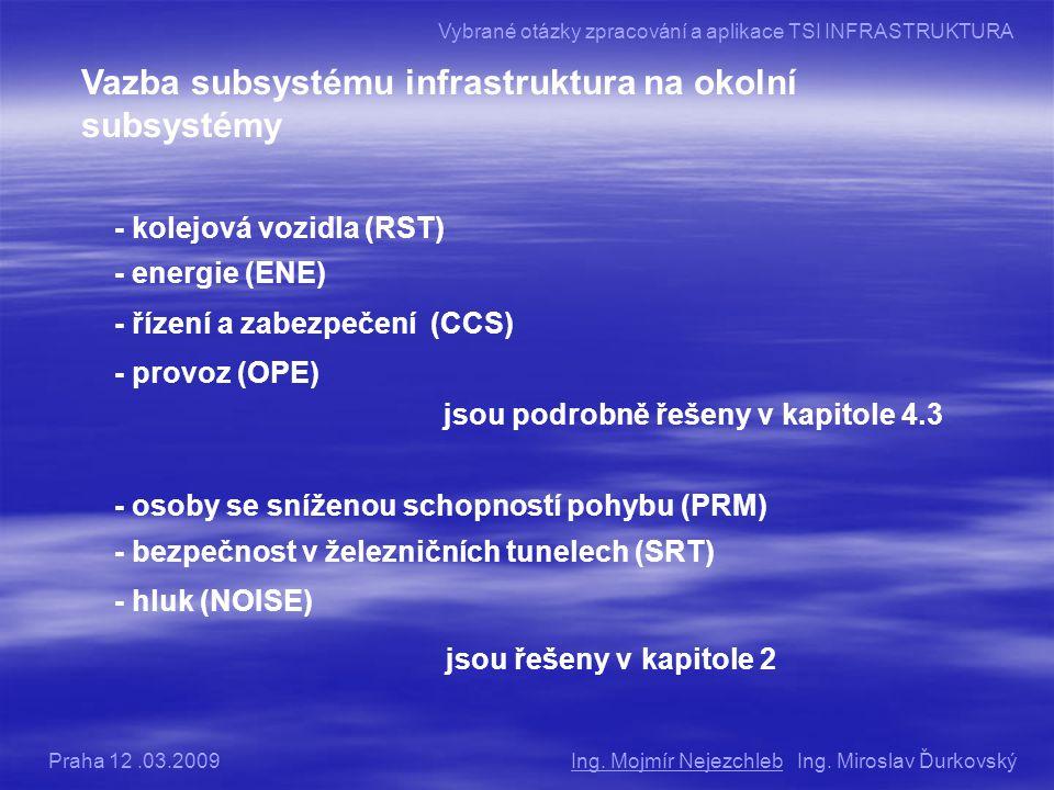 Vazba subsystému infrastruktura na okolní subsystémy - kolejová vozidla (RST) - energie (ENE) - řízení a zabezpečení (CCS) - provoz (OPE) jsou podrobně řešeny v kapitole 4.3 - osoby se sníženou schopností pohybu (PRM) - bezpečnost v železničních tunelech (SRT) - hluk (NOISE) jsou řešeny v kapitole 2 Ing.