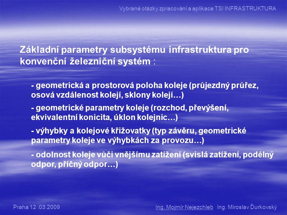 Základní parametry subsystému infrastruktura pro konvenční železniční systém : - geometrická a prostorová poloha koleje (průjezdný průřez, osová vzdálenost kolejí, sklony kolejí…) - výhybky a kolejové křižovatky (typ závěru, geometrické parametry koleje ve výhybkách za provozu…) - geometrické parametry koleje (rozchod, převýšení, ekvivalentní konicita, úklon kolejnic…) - odolnost koleje vůči vnějšímu zatížení (svislá zatížení, podélný odpor, příčný odpor…) Ing.