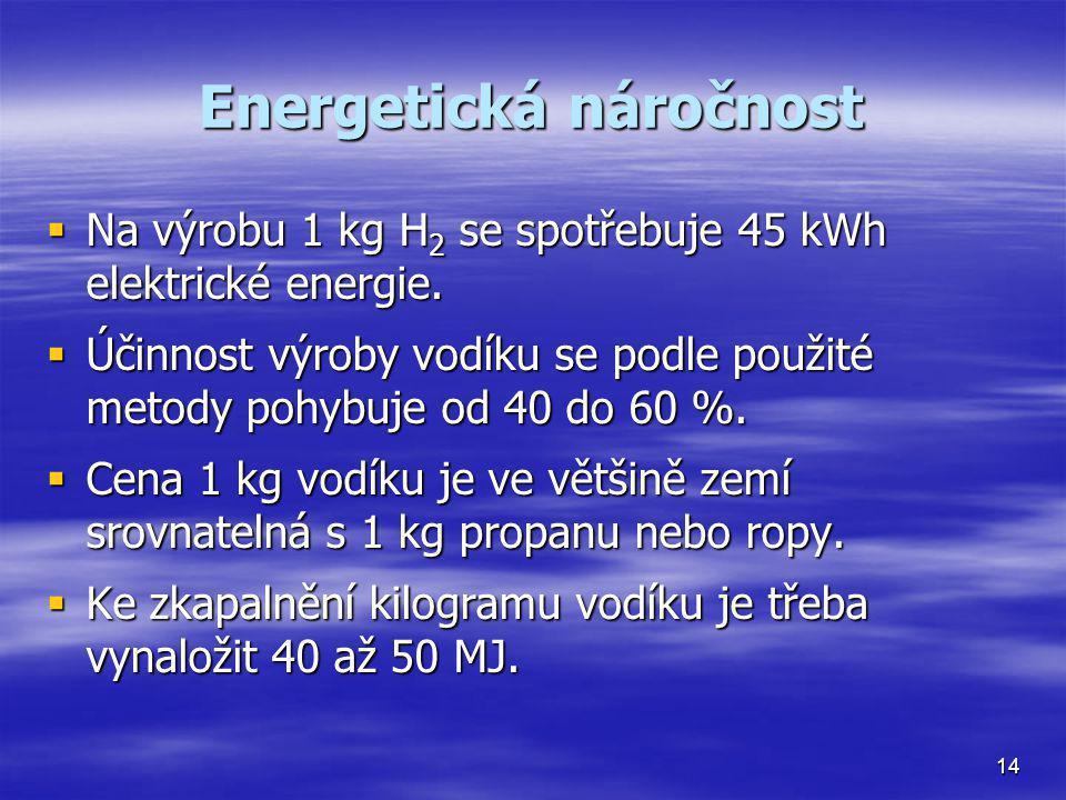 Energetická náročnost  Na výrobu 1 kg H 2 se spotřebuje 45 kWh elektrické energie.  Účinnost výroby vodíku se podle použité metody pohybuje od 40 do