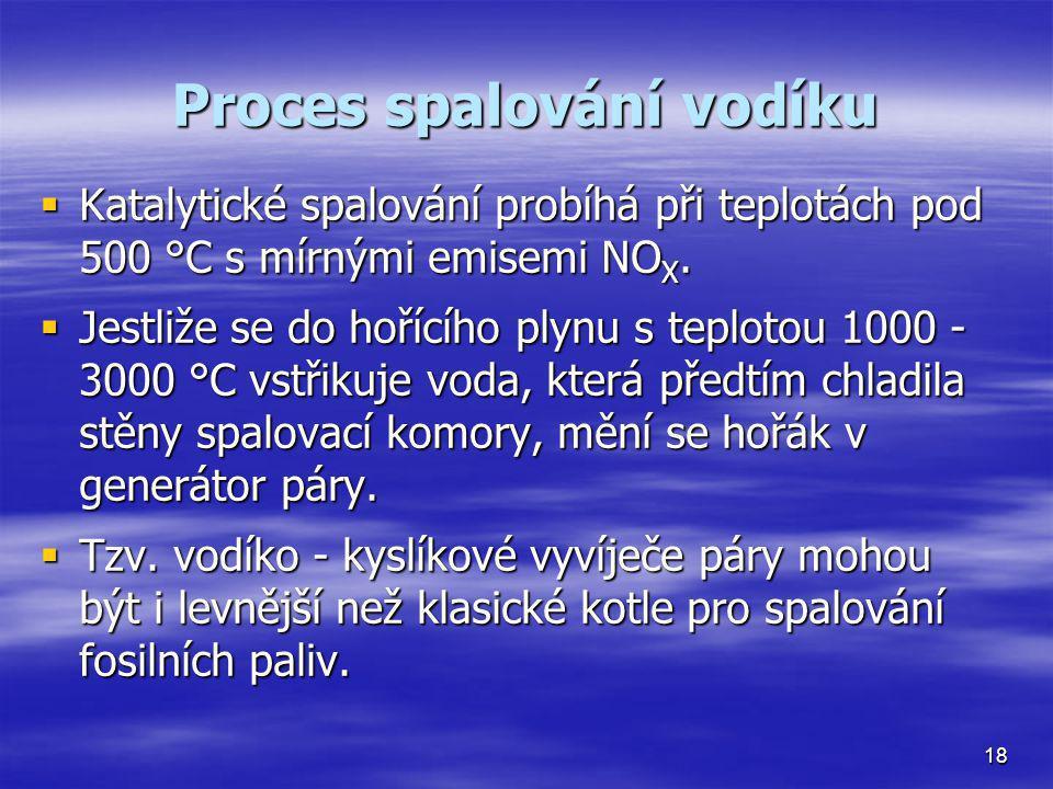 Proces spalování vodíku  Katalytické spalování probíhá při teplotách pod 500 °C s mírnými emisemi NO X.  Jestliže se do hořícího plynu s teplotou 10
