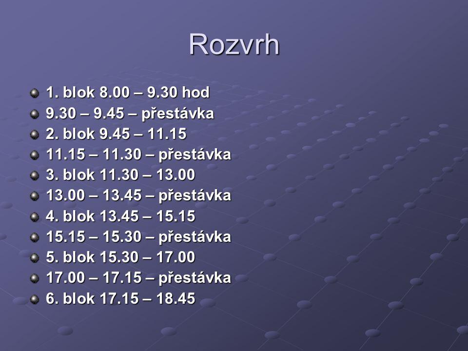 Rozvrh 1. blok 8.00 – 9.30 hod 9.30 – 9.45 – přestávka 2. blok 9.45 – 11.15 11.15 – 11.30 – přestávka 3. blok 11.30 – 13.00 13.00 – 13.45 – přestávka