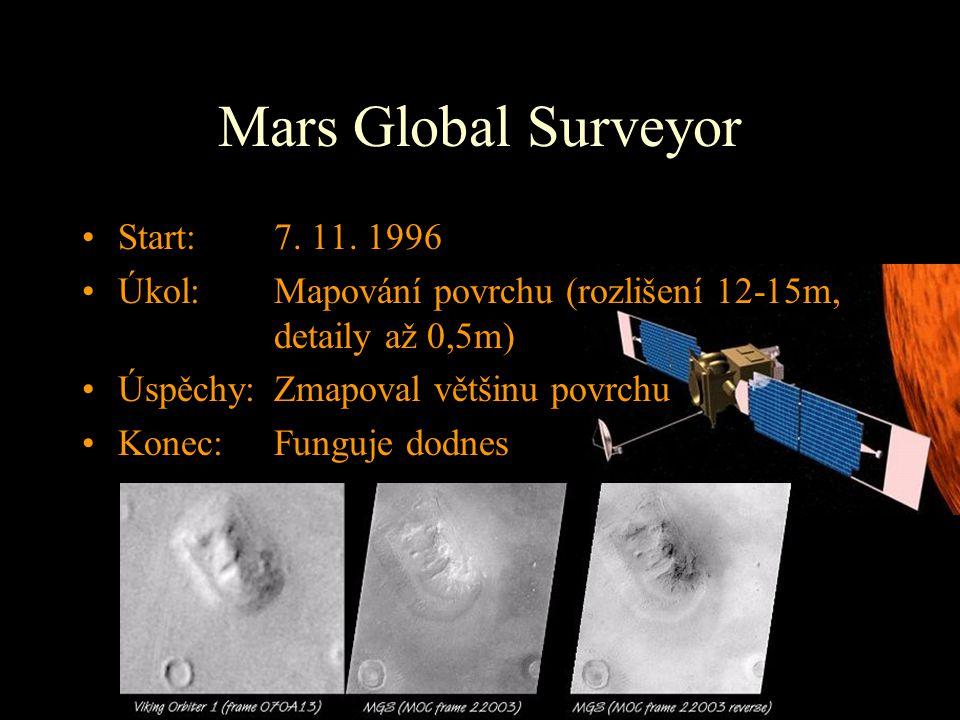 Mars Global Surveyor Start: 7. 11. 1996 Úkol: Mapování povrchu (rozlišení 12-15m, detaily až 0,5m) Úspěchy:Zmapoval většinu povrchu Konec: Funguje dod