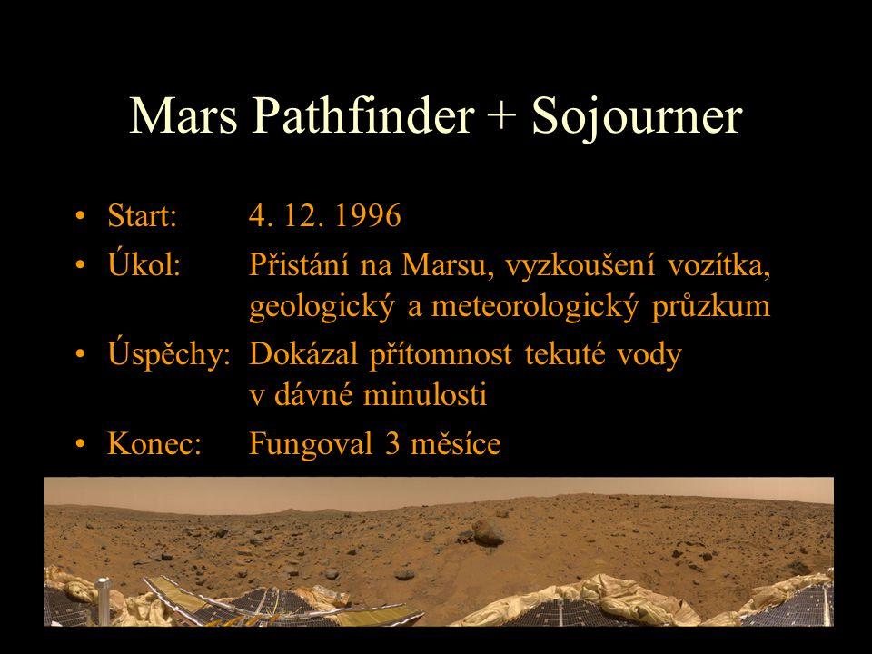 Mars Pathfinder + Sojourner Start: 4. 12. 1996 Úkol: Přistání na Marsu, vyzkoušení vozítka, geologický a meteorologický průzkum Úspěchy:Dokázal přítom