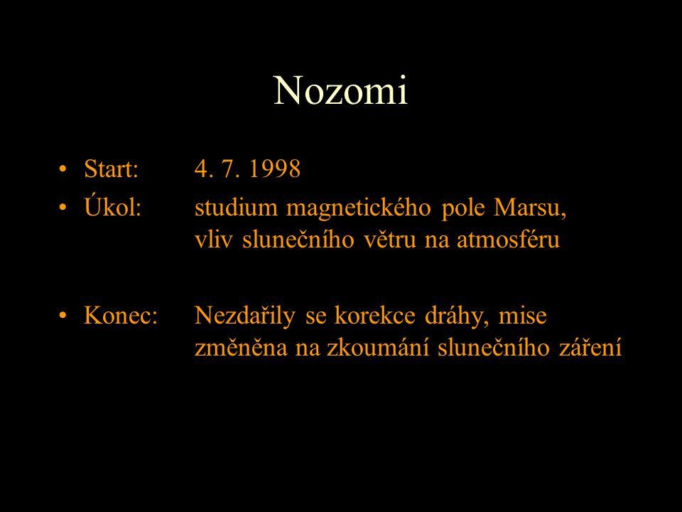 Nozomi Start: 4. 7. 1998 Úkol: studium magnetického pole Marsu, vliv slunečního větru na atmosféru Konec: Nezdařily se korekce dráhy, mise změněna na