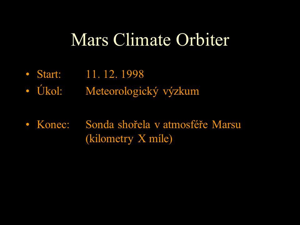 Mars Climate Orbiter Start: 11. 12. 1998 Úkol: Meteorologický výzkum Konec: Sonda shořela v atmosféře Marsu (kilometry X míle)