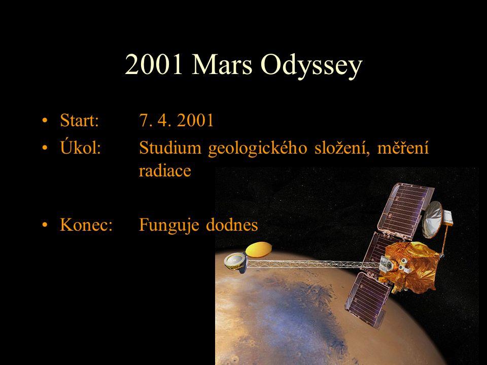 2001 Mars Odyssey Start: 7. 4. 2001 Úkol: Studium geologického složení, měření radiace Konec: Funguje dodnes